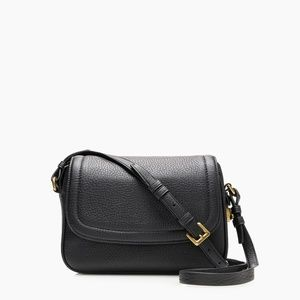 NWT J. Crew Women's Signet Flap Crossbody- Black